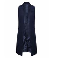 Wholesale Women White Black Long Vest Coat Europen Style Waistcoat Sleeveless Jacket Back Split Outwear Casual Top Roupa Female