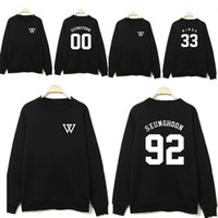 Wholesale NEW KPOP WINNER Black Sweatershirts Pattern Terry Women Men Hoodies Pullovers O Neck Baseball Jacket Black Lovers Clothes