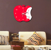 Wholesale New Cute Apple Wall Clock Bedroom Clock for Home Decoration Quiet Design inch RED