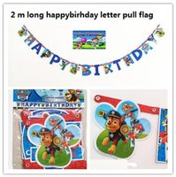 Wholesale Kid Boys Party Pawed Patrolling Dog Cartoon Theme Paper flag Dishes Birthday Favors Decoration Round Paper flag