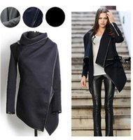 asymmetric coat women - Street Style Women Slim Wool Coats Winter Warm Long Jacket Windbreaker Casual Trim Asymmetric Rules Basic Trench Coats Parka Outwear HMS12