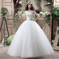 Wholesale Vestido De Noiva Ball Gown Puffy Princess Style Appliques Flowers Lace Sleeveless Lace Up Wedding Dresses for Brides