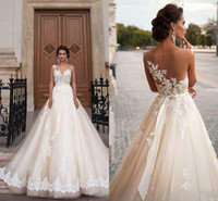western dresses - Stunning Milla Nova Sheer Castle Princess Wedding Dresses Illusion Back Lace Chapel Train Vintage Bridal Gown For Western Style Cheap