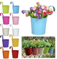 Wholesale Adorable Colors Hanging Metal Iron Flower Pot With Flowers Herbs Or Plants For Balcony Garden Planter Home Decoration E498E
