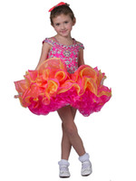 Wholesale New Cute Baby Girl Cupcake Skirts With Off Shoulder Beadings Glitz Ball Gowns Evening Party Sweet Tutu Short Pageant Dress