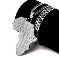 africa punk - Sale Fashion Mens Necklaces Hip Hop Jewelry Punk Hip Hop Rock Rap Men Long M Chain Map of Africa Pendant Design