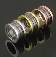 Wholesale Fashion Brown Ceramic Whorl Rings Yellow Gold Rose Gold Silver Metal colors Titanium Stainless steel Women Mens Wedding band Jewelry