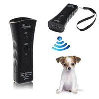 Wholesale 2017 New Super Double Ultrasonic Dog Chaser Deterrent Device Stops Aggressive Animal Attacks Repeller Dog Trainer with Flashlight