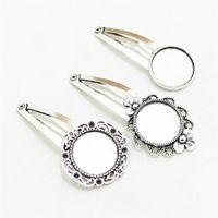 bb settings - mixture BB clip pieces Antique Silver Alloy Flower Blanks mm Cabochon clip Settings D0996