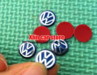 al por mayor llaves de radio vw-Etiqueta engomada auto del botón de radio de la divisa del emblema del Fob de 10pcs 14m m VW R SR GTI auto insignia del coche