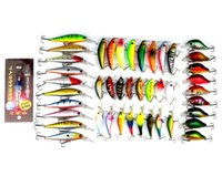 bass lamp - 44 Hot Saleing Bait Suit Combination Bass Boutique Lure Baits Hard False Bait Fish Lamp Baits Mixed Lure Kit Fishing Hooks
