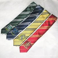Wholesale Harry Potter Necktie College Tie Harry Potter Gryffindor Tie with Badge Slytherin Ravenclaw Costume Accessory Tie Multicolour Stripe Ties