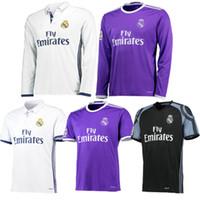 Wholesale 2016 Cristiano Ronaldo Soccer Jerseys Real Madrid Benzema camisetas de futbol Modric Kroos Sergio Ramos Bale Marcelo Long Sleeve Jersey
