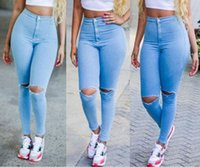 wholesale blue jeans - 2016 pieces JEANS cutout DESTROYED RIPPED DISTRESSED WOMEN SKINNY SLIM LIGHT BLUE JEANS