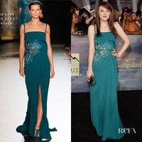 Emerald Green Elie Saab vestidos de noche Long 2016 Spaghetti correa de encaje Applique vestidos de fiesta de baile más tamaño de gasa Split Side Celebrity desgaste