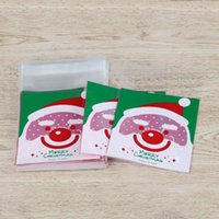 Wholesale Hot Cute Self Adhesive Christmas Santa Claus Deer Design Party Candy Jewelry Gift Package Bags