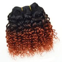 best red hair dye - Best a Ombre Hair Extensions Brazilian Hair Kinky Curly Top Human Hair Weave Two Tone Red Orange Ombre Curly Hair Weft Color1b