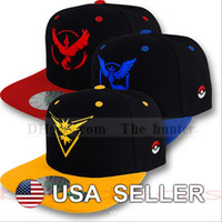 baseball action figures - Poke Go Baseball Caps Pikachu Sun Hats Unisex Team Valor Mystic Hip Hop Hats Poke Ball Snapbacks Caps Cartoon Action Figure Ball Caps