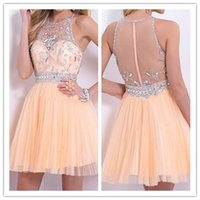 backless clubwear - Sexy See Through Back Homecoming Dresses Short Mini Jewel Beaded Crystal Tulle Occasion Party Gown Clubwear th Graduation Dress