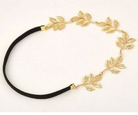 Cheap European Style Fashion Olive Branch Hair Accessories Lovely Chain Elastic Gold Leaf Hair Band Headband for Elegant Women DHF060