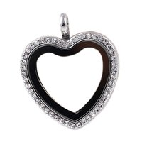 Wholesale Heart Memory Magnet Magent Glass Living Floating Locket Pendant With Chains