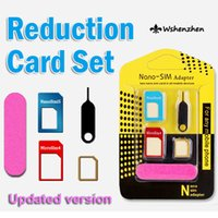 Wholesale New in metal Nano SIM Card Micro SIM Card Standard sim Converter Adapter for iPhone with Eject Pin