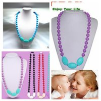 beaded necklace design - Teether teething necklaces Beads Silicone pendant teething Baby necklace Mommy Jewelry Baby Chewlry Necklace design KKA492
