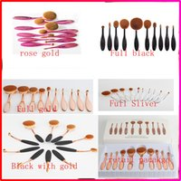 shape ups - 10pcs set sets Tooth Brush Shape Oval Makeup Brush Set Professional Foundation Powder make up brushes with retail box