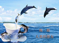 Wholesale Creative Dolphin Fish Coffee Cup Chinese Ceramic Tea and Coffee Cups Set pc Bone Mug With pc Saucer and pc Spoon marriage gift