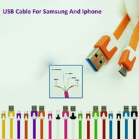 Wholesale Micro USB samsung galaxy cell phone charger Noodle M M iphone charger cable for i phones Plus Samsung