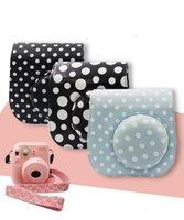 Wholesale Fashion cute Polka dot fuji instax mini pu leather camera case bag with strap hot sale