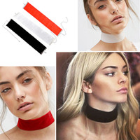 Wholesale Plain Black Velvet Choker Necklace Gothic Vintage Wide Ribbon Neckless Collar Jewelry For Women
