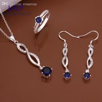 Wholesale S584 Sapphire Jewelry Christmas Gifts Sterling Silver Jewellery Set Blue Zirconia Necklace Earrings Rings Gift Sets