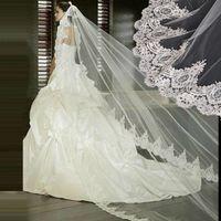 Wholesale White Ivory Lace Wedding Veil Bridal Veil Meters Cathedral Long Wedding Veils Veu De Noiva Wedding Accessories