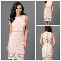 Wholesale 2016 Sexy Cocktail Party Dresses Short Sheath Sheer Jewel Lace Pink Celebrity Special Occasion Sweet Evening Dresses Prom Gowns Kleider