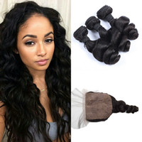 Wholesale Peruvian Virgin Hair With Closure A Unprocessed Human Hair Weft Bundles With Silk Base Closure Peruvian Loose Wave