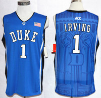 Wholesale 1 Kyrie Irving Blue College Basketball Jerseys New Style Stitched NCAA Jersey Embroidery logos