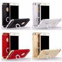 Wholesale For iPhone plus s plus Electroplate PC Anti knock Removable in Hard Grind Arenaceous Case Cover with Ring Holder