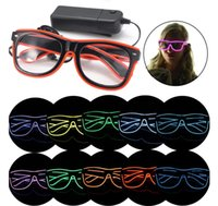 Wholesale Simple el glasses El Wire Fashion Neon LED Light Up Shutter Shaped Glow Sun Glasses Rave Costume Party DJ Bright SunGlasses Christmas gift