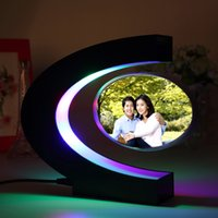 acrylic magnetic frames - New Freeshipping classic fashionable gift C shaped magnetic levitation frame with led lamps light up