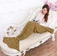 Wholesale 100pcs Crochet Mermaid Tail Blanket Super Soft Warmer Blanket Bed Sleeping Costume Air condition Knit Blanket Autumn Winter jy451