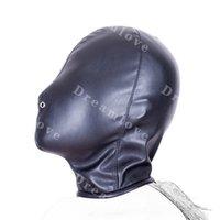 Wholesale Soft Leather Fetish Hoods - Kinky Fetish Head Bondage Total Enclosure Gimp Hood Soft Leather Sensory Deprivation Mask with Nose Vent Fetish Costume