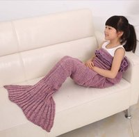 achat en gros de fils pour le tricotage crochet-140 * 70CM Filet Tricoté Fille Mermaid Tail Blanket Handmade Crochet Quality Blanket Kids Throw Bed Wrap Super Soft Sleeping Bag