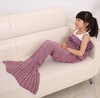 achat en gros de fils pour le tricotage crochet-140 * 70cm Fils tricoté filles couverture de queue de sirène main crochet de qualité couverture enfants jettent envelopper le lit sac de couchage super doux