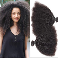 achat en gros de 3bundles cheveux humains remy-Mongolian Afro Kinky Curly Human Virgin Hair Weaves Double Wefts Naturel Noir Couleur 3Bundles / lot 100g / Bundle Remy Hair Extensions