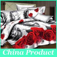 achat en gros de 3d bed set-Bue / Noir / Violet Belle Rose Fleur 3D Ensemble de literie de couette / drap de lit / Taie / Bed Vêtements New Style