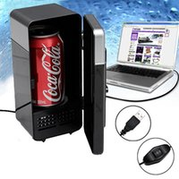 Wholesale New Arrival Colors Red and Black Mini USB Protable LED PC Fridge Refrigerator Drink Cans Food Cooler Warmer