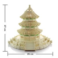 ancient chinese temple - Kids Educational DIY D Puzzle Toys Wooden Assembly Chinese Ancient Temple of Heaven Tower Construction Toy