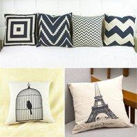 Wholesale Vintage Cotton Linen Pillow Case Cushion Cover Decorative Square Home Throw Sofa Simple