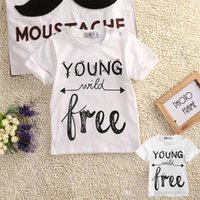 Wholesale 2016 pieces Toddler Kids Baby Boys Girls Cotton short Sleeve letter T shirt Tops Tees Clothes Outfit T